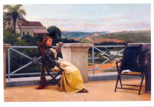 leitora na varanda